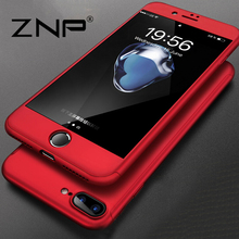 ZNP 360 Degree Full Cover Red Cases For iPhone 6 6s 7 Plus Case wish Tempered Glass Cover For iphone 7 7Plus 6s Phone Case Capa