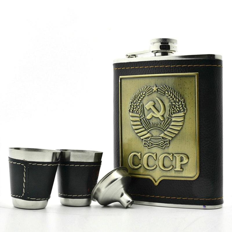 Travel Camping Canteen 8oz Cccp Leather Army Military Hip Flask Whisky Alcohol Pocket Groomsmen Gifts Bottle Drinkware S4