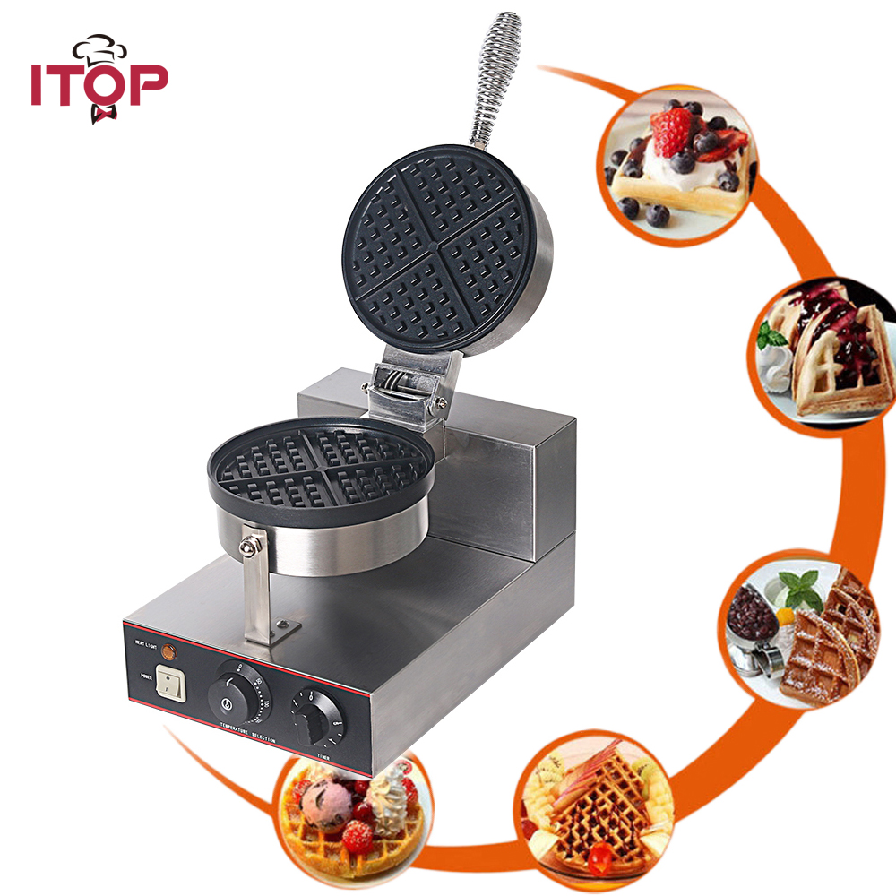 ITOP Stainless Steel Electric Waffle Baker DIY Waffle Baking Tool Nonstick Egg Maker Cake Oven Single Burner Machine