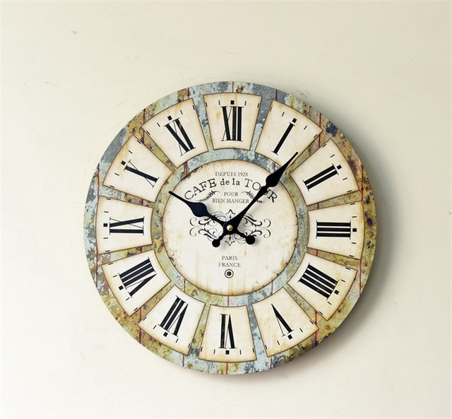 Wooden Wall Clocks Decorative Wall Hanging Clock Creative Quiet Butterfly Pattern Home Decor Gifts Crafts