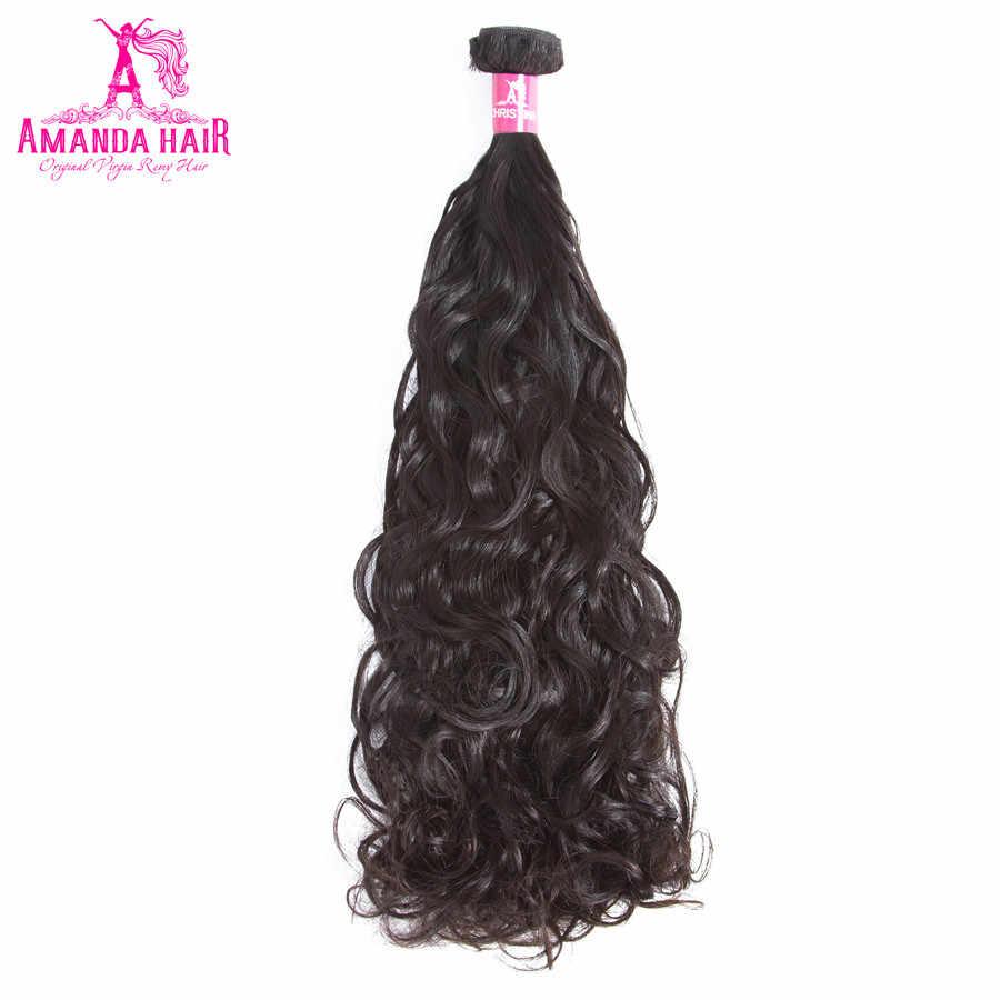 Pelo de Amanda onda de agua Malasia 2 piezas 100% paquetes de cabello humano extensiones de cabello Remy Color Natural se puede teñir para salón