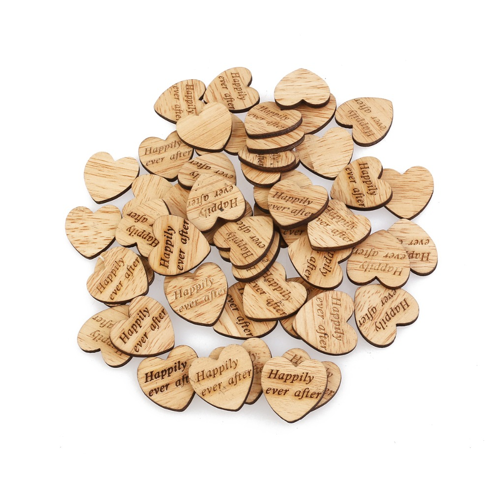 50pcs Happily Ever After Wooden Hearts Scrapbooking Embellishments Crafts Wedding Decor Ornament Natural Wood Crafts Supplies