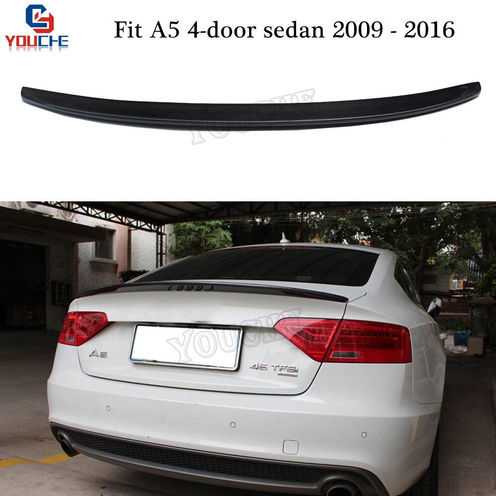 S5 Style Carbon Fiber Rear Spoiler Wing For Audi A5 4 Door