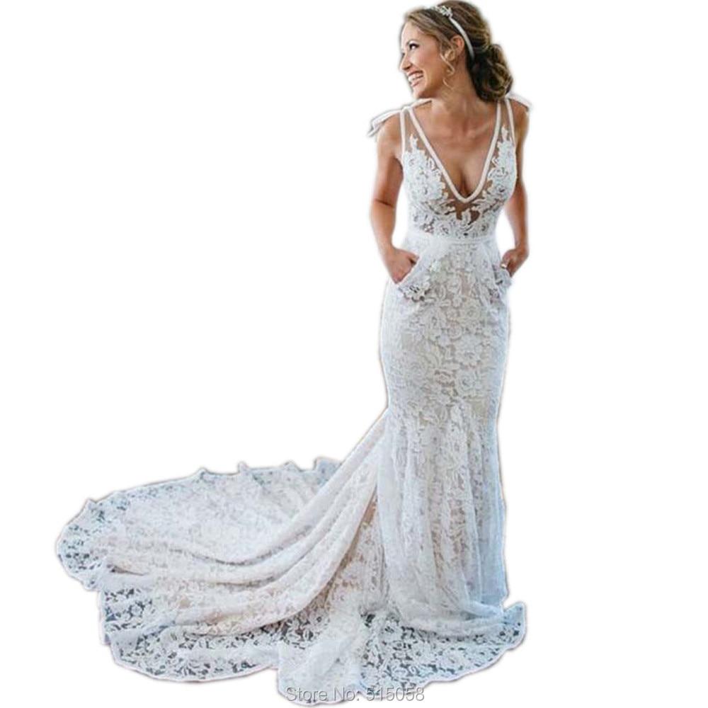 White Lace Mermaid Gown: Elegant V Neck Open Back White Lace Mermaid Wedding