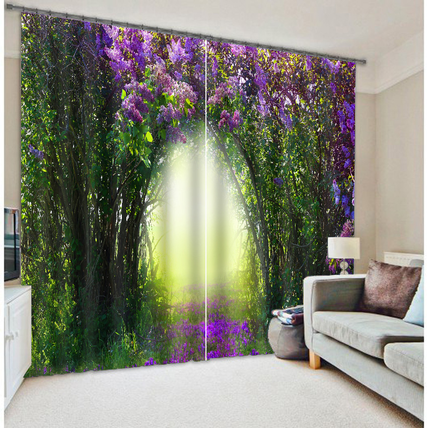 High Quality Green Tree Purple Flower Modern 3D Curtains For Living Room  Full Blackout Modern Curtain In Curtains From Home U0026 Garden On  Aliexpress.com ... Part 59