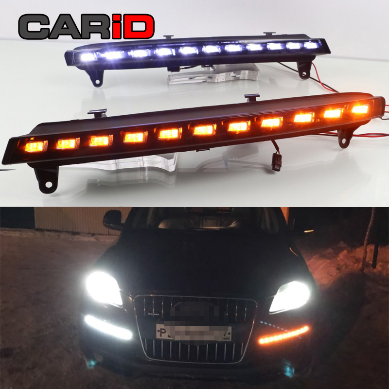 Car LED Daytime Running Light For Audi Q7 2006 2007 2008 2009 Yellow Turning Signal Light Car DRL Waterproof 12V Fog Lamp Bulb
