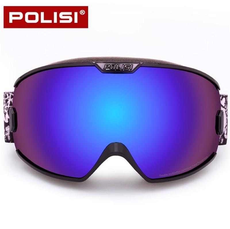 POLISI Для мужчин Для женщин Ski сноуборд очки с двойными Слои анти-туман объектив снегоход скейт Очки зимние Очки для лыжного спорта