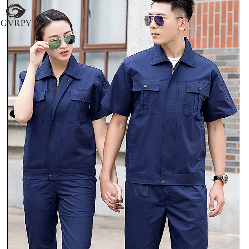 Cotton Solid Color Short-sleeved Workshop Uniform Mechanical Maintenance Car Beauty Overalls Engineering Clothing Jacket Pants