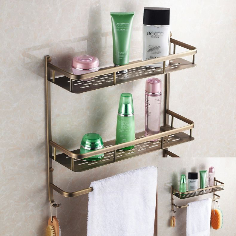bathroom shelves wall mounted antique bronze finish brass bathroom shower shelf two layer basket holder with