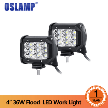 "Oslamp 2x 4"" 36w 6D Tri-Row LED Light Bar Offroad Flood Beam Work Light 4x4 4WD SUV ATV RZV Trailer Truck 12v 24v LED Lights"