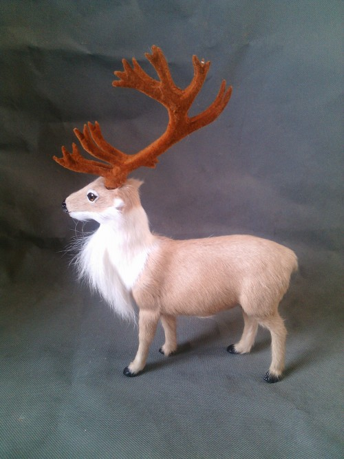 ФОТО simulation Reindeer model 27X20CM toy ,lifelike light yellow Reindeer model decoration gift t439