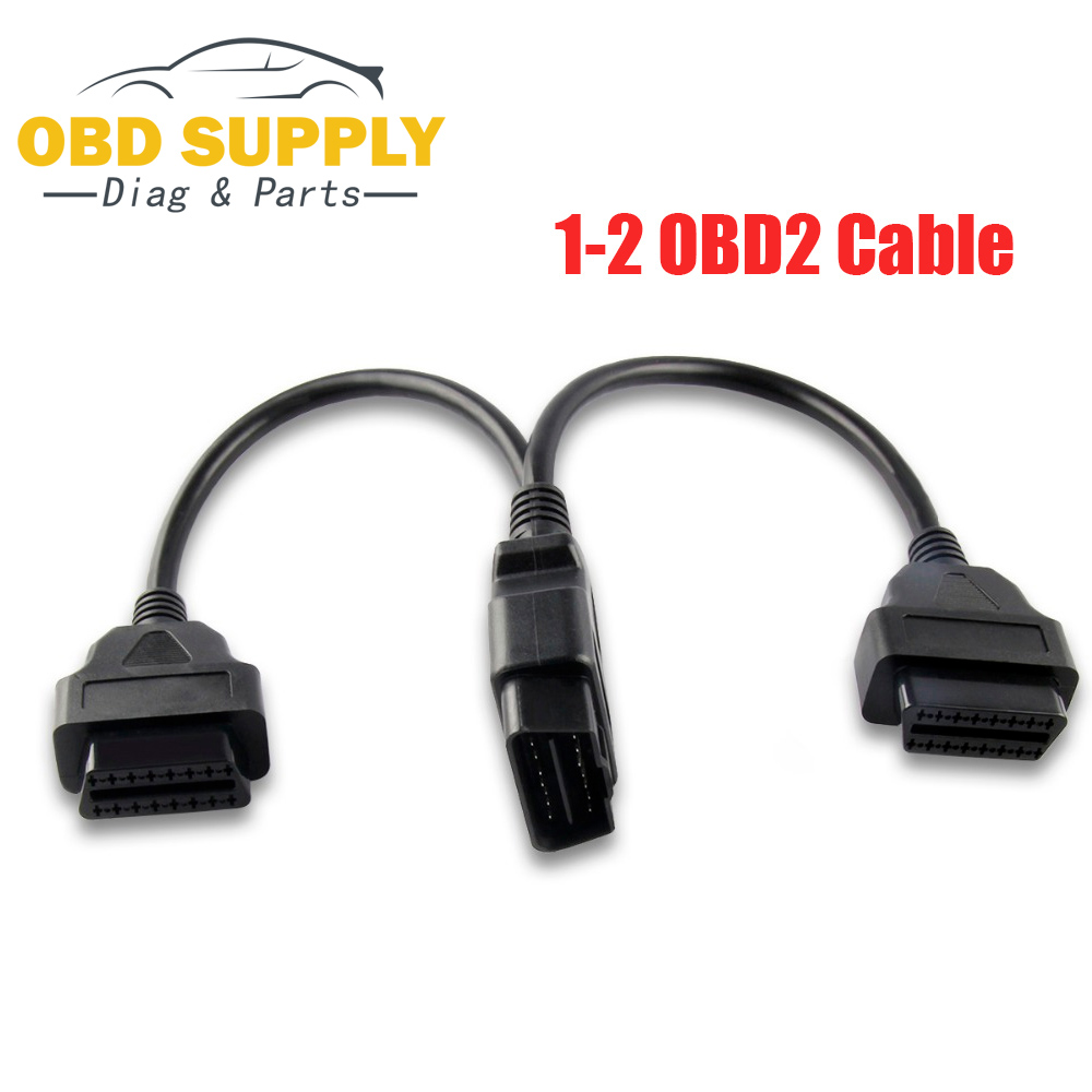 Xtruck North American Universal OBD2 Splitter for All Car Cable Harness Kit core Connector 16 Pin Extension 1 Male and 2 Female Cable Adapter