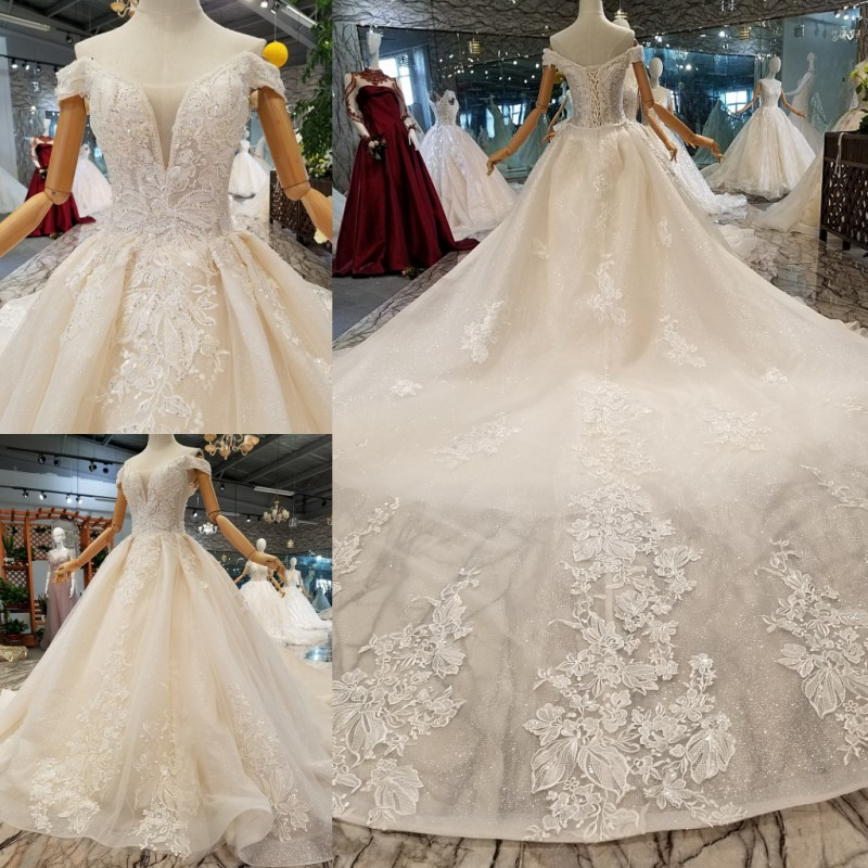 6d666d2ae738b LS854001 2018 new design sexy wedding gowns women off the shoulder  sweetheart customized shiny wedding dresses with long train-in Wedding  Dresses from ...