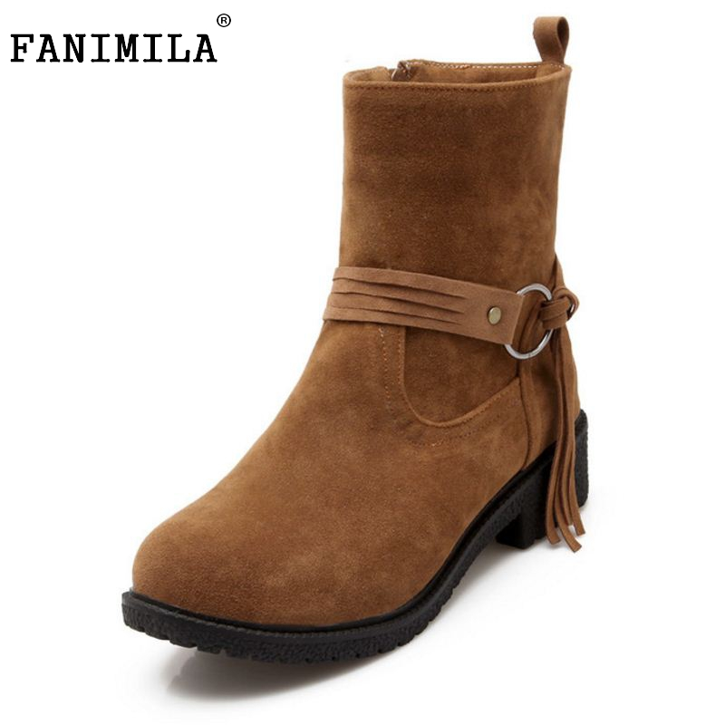 Women Round Toe Flat Half Short Boot Mid Calf Winter Warm Leisure Boot Sexy Fashion Martin Bota Footwear Shoes Size 33-43