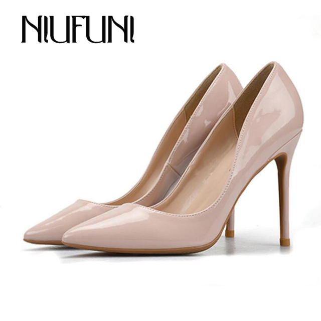 Pointed Toe Sexy OL Office Ladies High Heels Solid Fashion Patent Leather Luxury  Shoes Women Designers Shallow Dress Pump Shoes 40a8ad6a6
