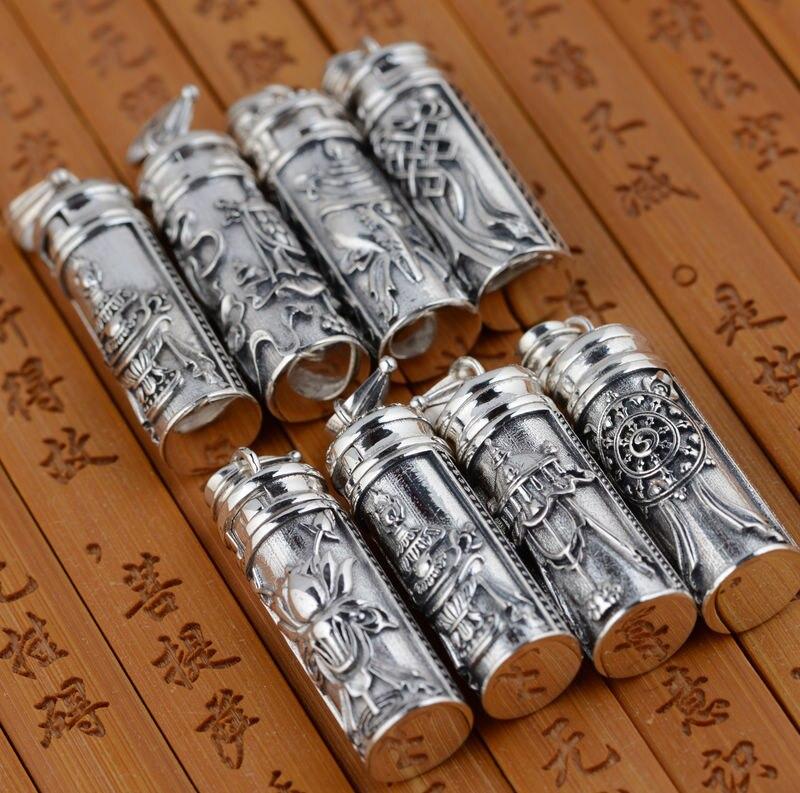 Nouveau! Vintage 925 argent tibétain Ghau boîte pendentif Thai argent bouddhiste symboles Gau pendentif bouddhiste boîte de prière pendentif