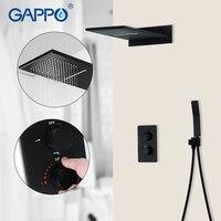 GAPPO черный Термостатический смеситель для душа s кран водопад ванная смеситель ливень, ванная набор душевой кран 3 функции душевой смеситель