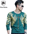 Fire Kirin T Shirt Men 2017 Famous Brand Mens Long Sleeve T-shirt Slim Fit Fashion Bronzing Rhinestones 3D Tshirt Homme T456