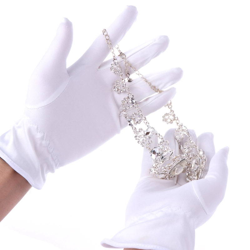 1 Pair White Coin Jewelry Lisle Lightweight Inspection Cotton Lisle Work Gloves