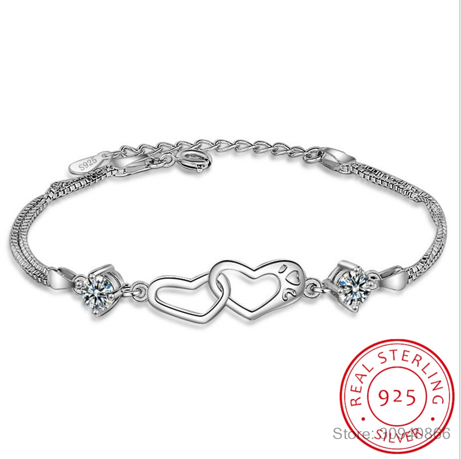 925 Sterling Silver Double Love Heart Soulmate Crystal Bracelets & Bangles For Women Valentine's Day Present S-B11