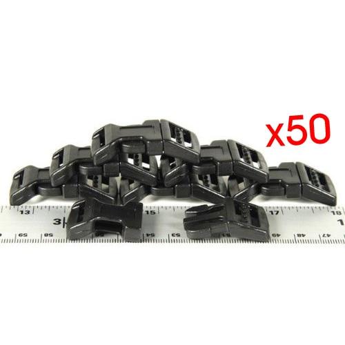Wholesale 10* est 50 - 58 Webbing Black Economy Contoured Side Release Plastic Buckles