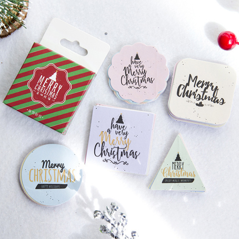 45pc/box Merry Christmas English Letter Paper Adhesive Sticker Decor Diy Scrapbooking Gift Bag Sticker Children Stationery
