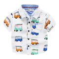 Summer shirts for boys linen cotton  cartoon car  printing short sleeved shirts
