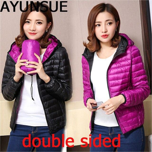 AYUNSUE/осенне-зимняя женская ультра легкая пуховая куртка с утиным пухом, двухсторонние куртки, теплое короткое пальто, парка, верхняя одежда, плюс размер 4XL