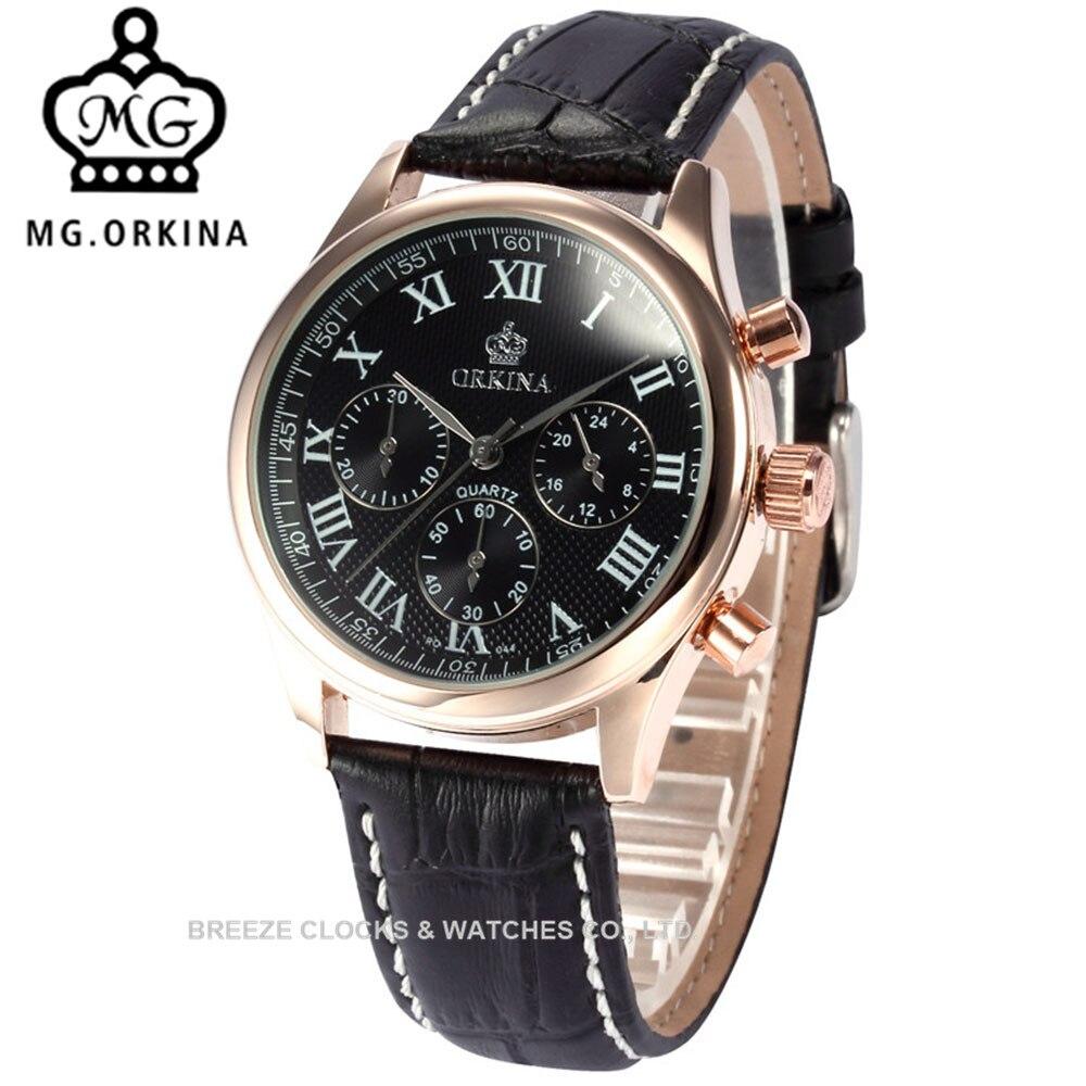 MG. ORKINA bracelet en cuir noir montres en or Rose montres à Quartz automatique pour hommes et femmes montres pour femmes 39 MM