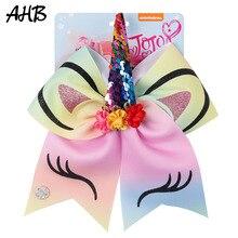 AHB Hair Accessories 7 Cheer Bows Rubber Band for Girls Floral Sequin Horn Glitter Rainbow Print Unicorn Kids