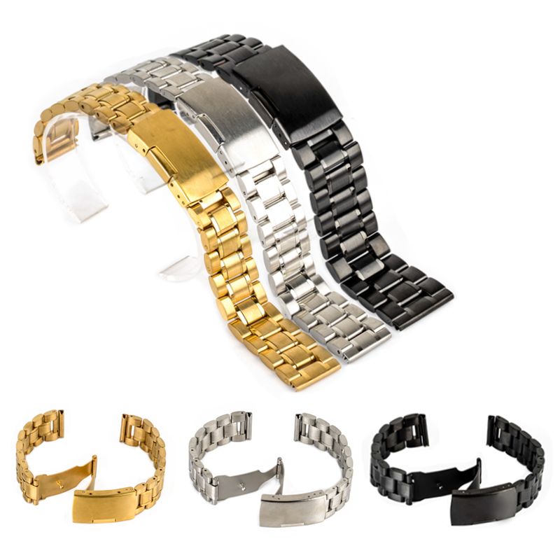 Luxury Brand Watch Accessories Watch Band 18mm 20mm 22mm 24mm Stainless Steel Strap Steel Buckle Wrist WatchBand цена и фото