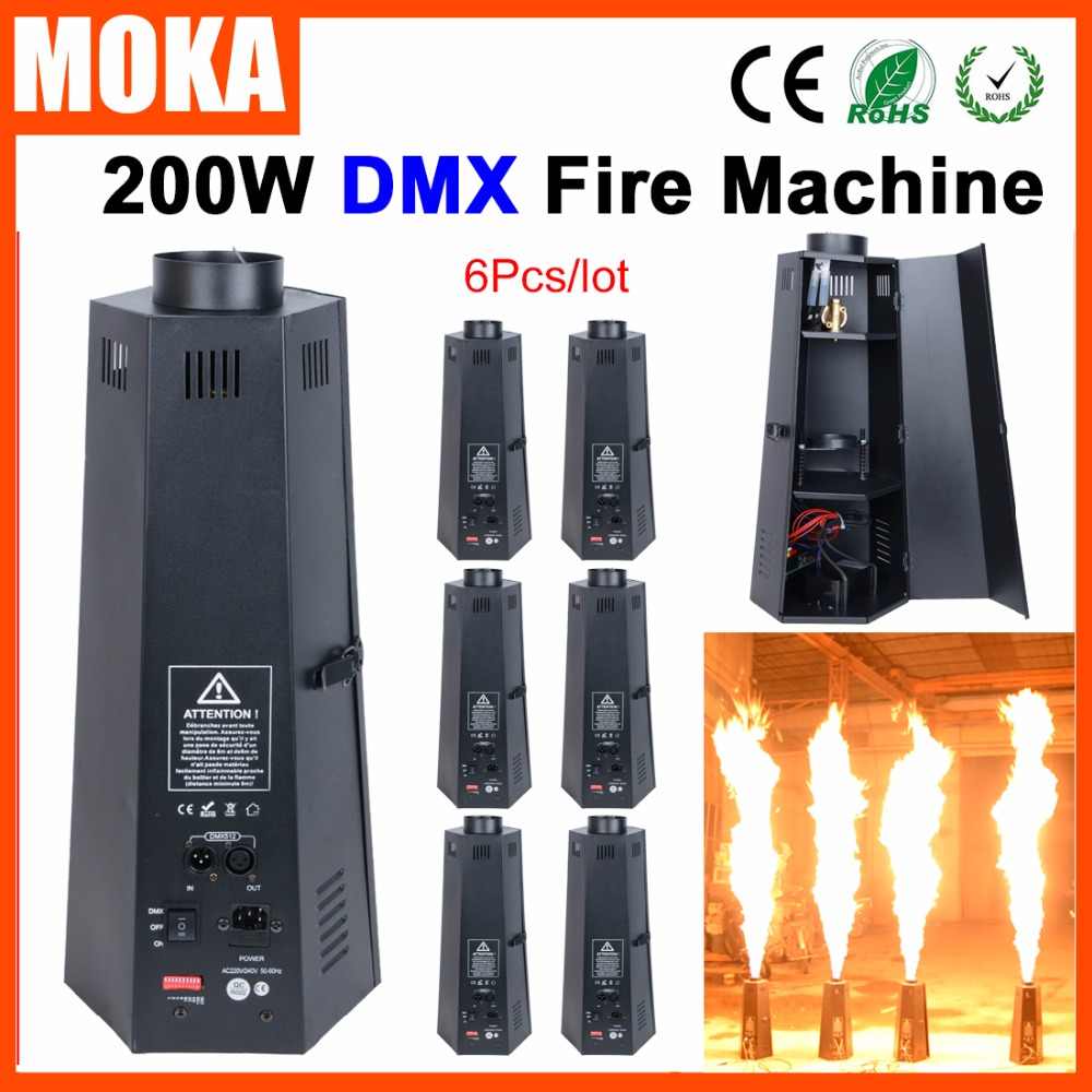 6pcs/lot 200W DMX Fire Machine Stage Flame Machine Stage Effect Equipment For DJ Party dmx lpg fire machines controller for flame machine dmx outdoor events for party ktv stage performance special effects