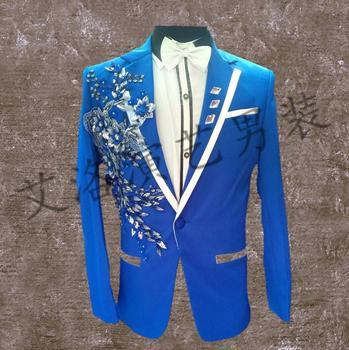 men suits designs blue homme terno stage costumes for singers men sequin blazer dance clothes jacket star style dress punk