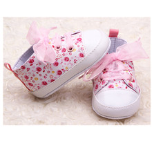 Newborn Baby Girl Floral Soft Sole Crib Shoes Infant Girl Toddler Sneaker Anti-Slip Baby Casual Shoes(China)