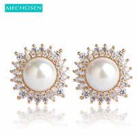 MECHOSEN Simulierte-Perle Stud Ohrringe Gold Farbe Kristall Orecchini Für Frauen Große Perlen Kupfer Brincos Ohren Piercing Schmuck