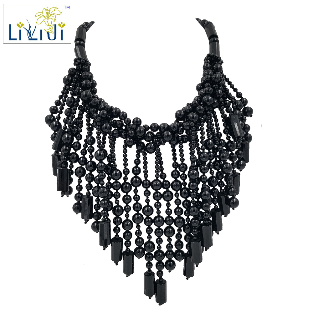 Lii Ji Natural Black Agate beads with Jade Toggle Clasp Big Necklace stylish natural black agate necklace 43cm