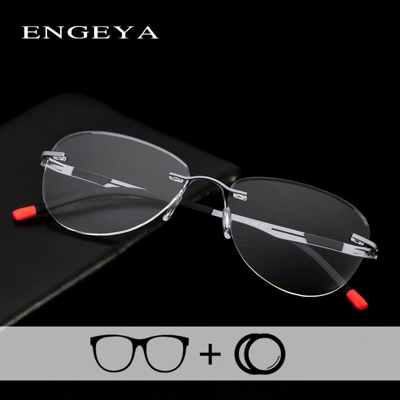 Alloy Eyewear Prescription Eyeglasses Men Women Fashion Rimless Optical Progressive Spectacles Super Light IP8033