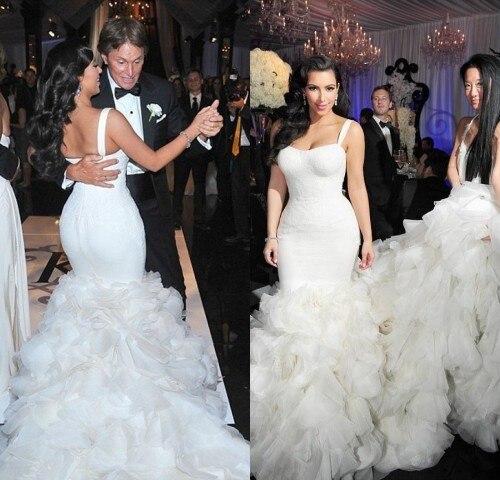2016 Luxury Mermaid Trumpet Wedding Dresses Kim Kardashian Arrival Spaghetti Bridal Gowns Vestidos De Noiva Plus Size In From