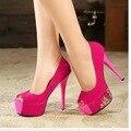 Размер 34-39 2016 Бренд Моды Обувь Женщина На Высоких Каблуках Насосы тонкий Каблук женская Обувь Peep Toe Высокие Каблуки Свадебная Обувь женщины