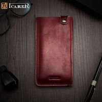ICARER For IPhone7 Plus Pouches Universal Retro Vegetable Tanned Leather Pouch For IPhone 7 Plus Etc