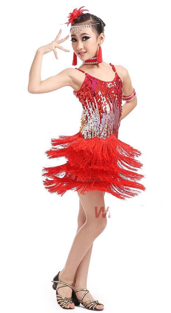 new kids paillette sequin tassel latin cha cha salsa tango vestido latino Latin dance dress competition red black yellow