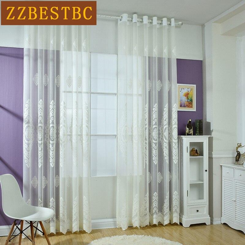 Las cortinas de tul jacquard de encaje de alta calidad, modernas y - Textiles para el hogar