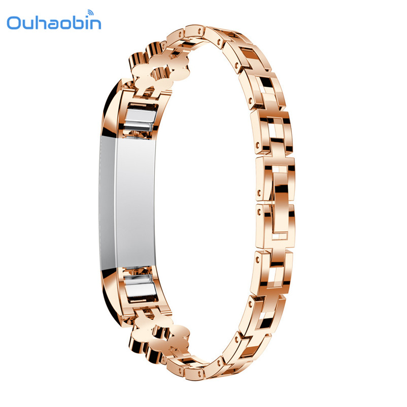 Ouhaobin Genuine Stainless Steel Watch Bracelet Band Strap For Fitbit Alta HR Watch