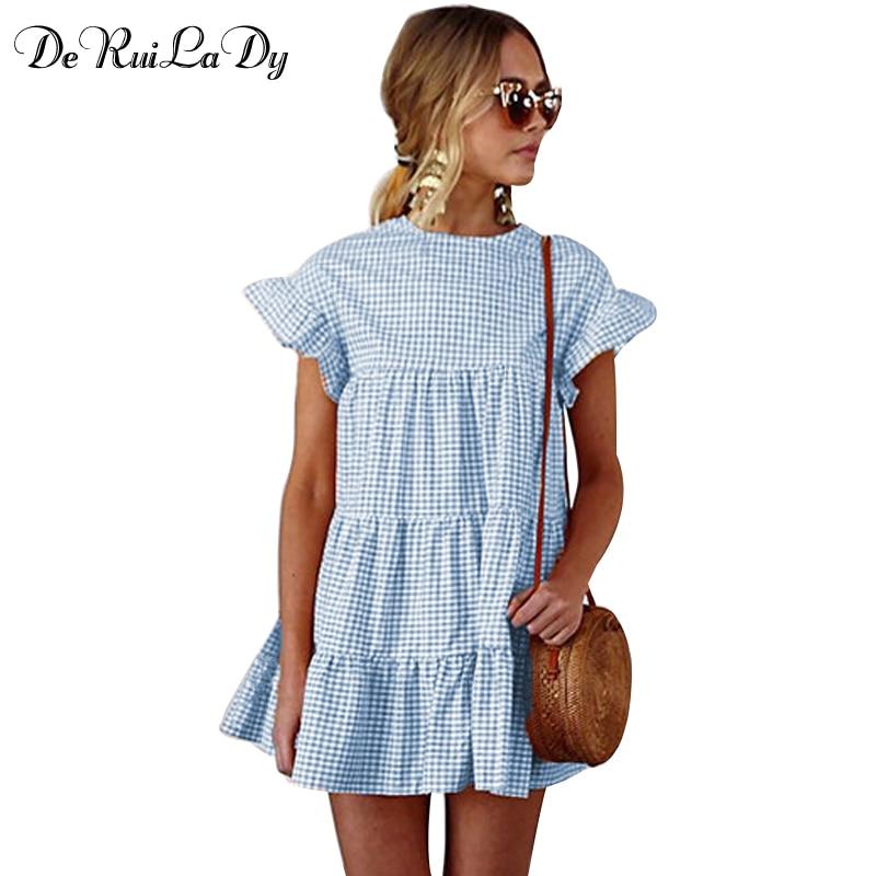 DeRuiLaDy Spring Summer Plaid Blue Pink Loose Dress Women Flare Sleeve Beach Mini Vintage Dresses 2018 Casual Dress vestidos