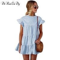 DeRuiLaDy Spring Summer Plaid Blue Pink Loose Dress Women Flare Sleeve Beach Mini Vintage Dresses 2018