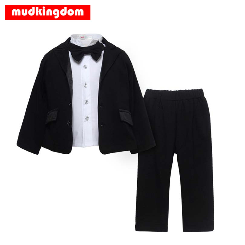 Mudkingdom Baby Boys Clothing Sets Black Suits White Shirt Long Sleeve Bow Tie Gentleman Suit Pants 3Pcs Kids Formal Boy Blazer smc type mxh16 5 pneumatic slider linear guide slide cylinder mxh16 5