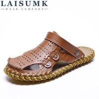 LAISUMK Summer Sandals Genuine Leather Men Shoes Casual Big Size New Soft Men's Beach Sandals