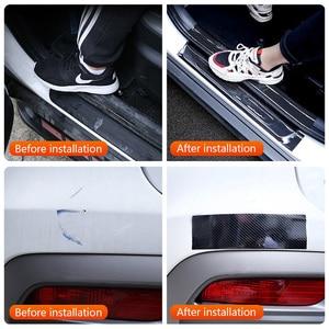 Image 5 - Pegatinas de vinilo para coche 5D, pegatina 3D de fibra de carbono, película impermeable, Protector de parachoques de puerta de automóviles, accesorios de decoración Interior