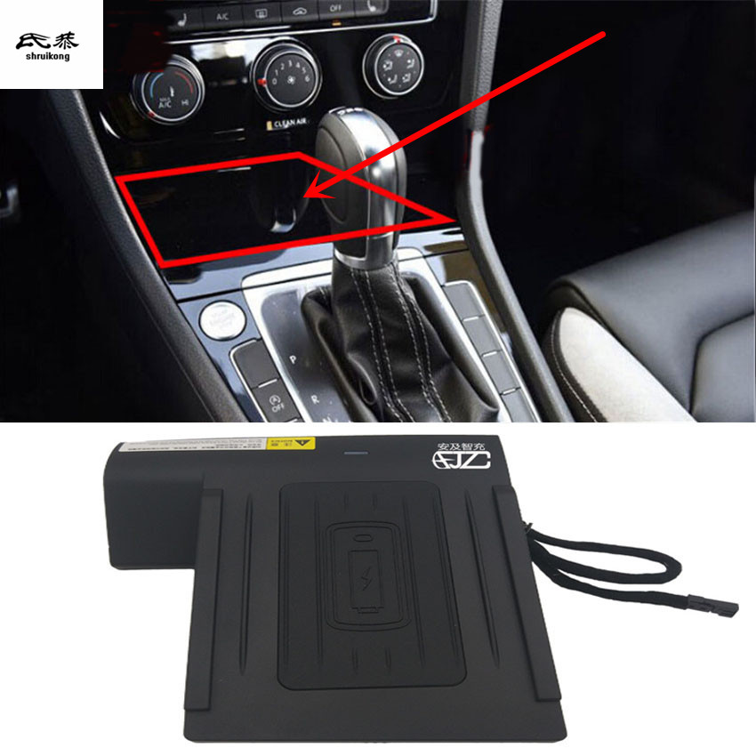 1lot Car sticker Mobile phone wireless charging Central Armrest storage box For 2014 2018 Volkswagen VW
