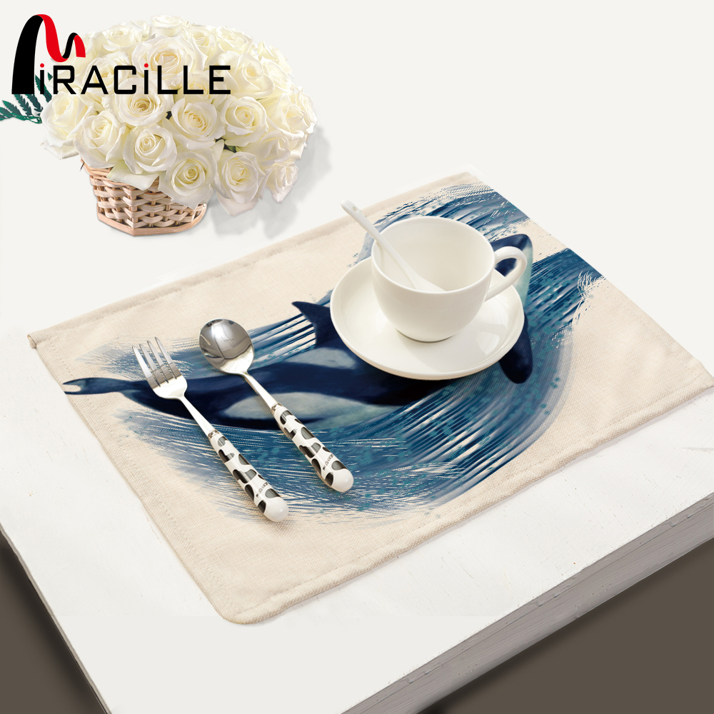 Miracille Coasters 2 4 6 pcs Marine Style Rectangle Cotton Linen Placemats For Dinner Table Home